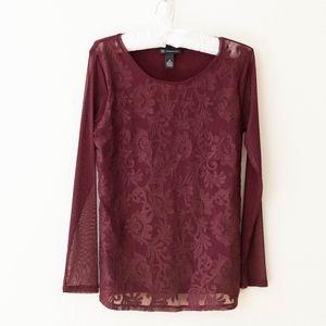INC Burgundy Brocade Knit Dressy Top Size Med